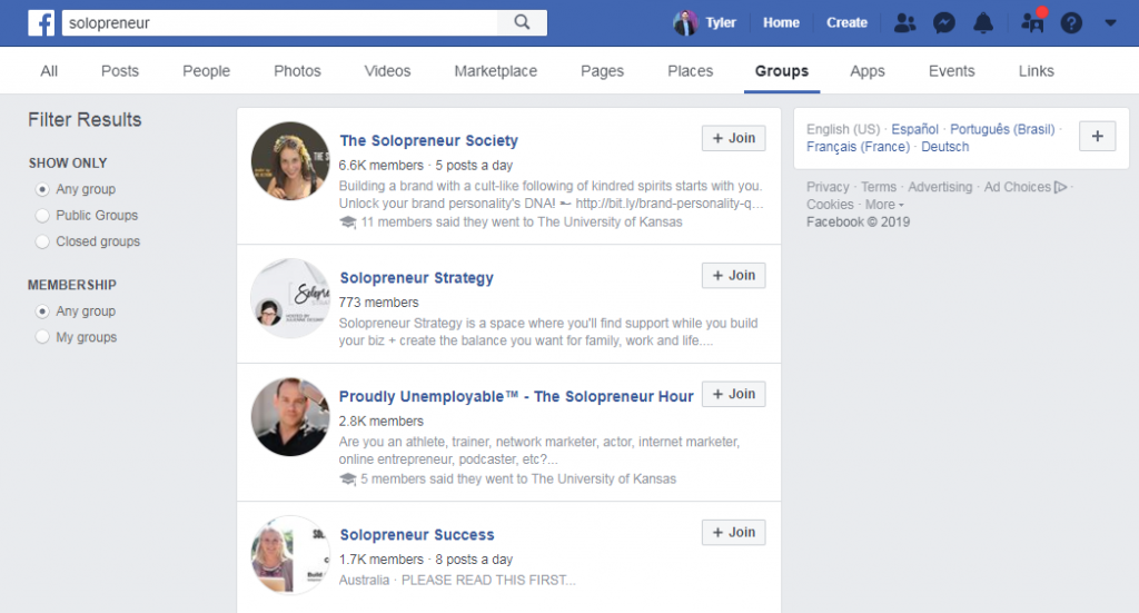 solopreneur groups facebook