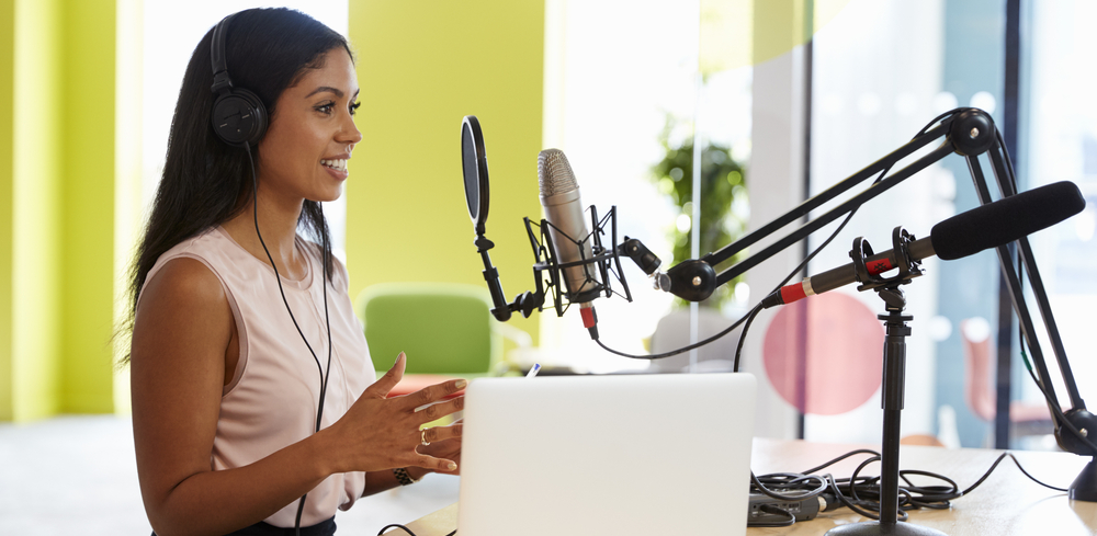 woman podcasting solopreneur
