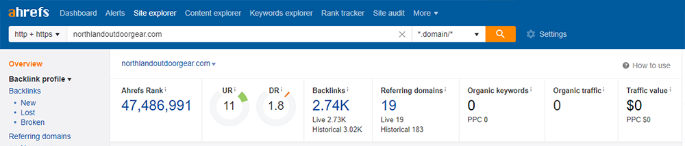 ahrefs overview backlinks
