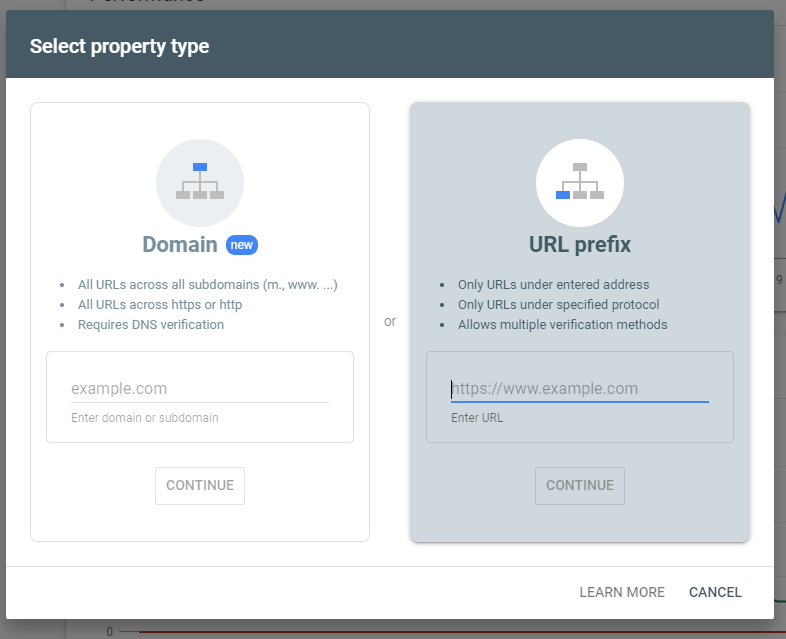 search console add property