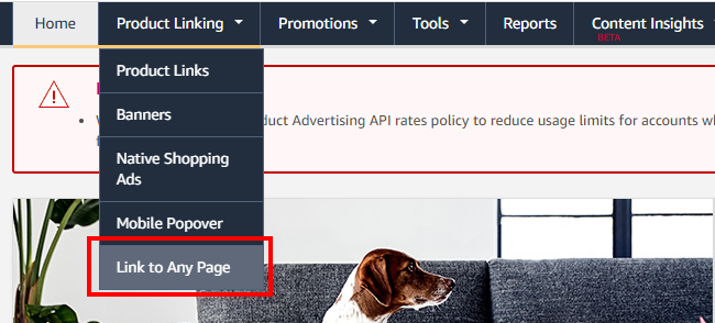 amazon associates link to any page